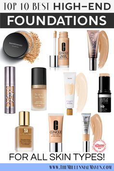 UPDATED 2019 Best foundation for oily skin the best foundation for dry skin and the best full coverage foundation. My 10 Favorite High-End Foundations For All Skin Types (Best Foundation at Sephora) Best High End Foundation, Best Foundation For Combination Skin, Best Full Coverage Foundation, Best Wedding Foundation, Full Coverage Makeup, Beste Foundation, Foundation For Oily Skin, No Foundation Makeup, Beauty