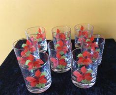 8-Block-Spal-Poinsettia-Glasses Blocks, Dinnerware Ebay, China, Poinsettia, Dinnerware, Ebay