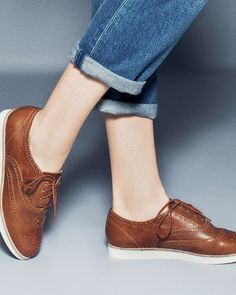 Frankie - cognac leather. -Oh! I love these. I rocked an old school pair of these in seventh grade that I stole from my mom. They were genius and felt like a hug for my feet.