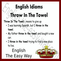 English Idiom I want to _________ learning English. 1. stop 2. throw in the towel 3. both #EnglishIdiom