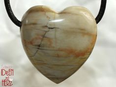 Valentines Day, Hearts, Gemstones, Petrified Wood, Leather Cord, Neck Chain, Cotton, Valentines Diy