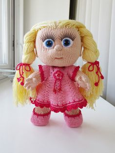 The doll is hand knitted with 100% skin friendly soft cotton yarn, hair is made of soft cotton-viscose yarn. Pattern by Marina Golden.