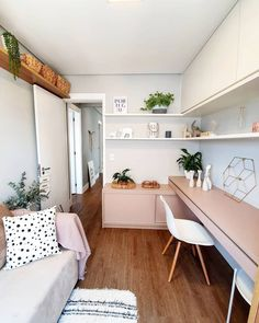 Home Design Decor, Home Interior Design, Small Home Offices, Small Apartments, Small Spaces, Living Room Bedroom, Bedroom Decor, Sweet Home, Small Bedroom Designs