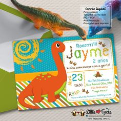 Convite Festa Dinossauro Digital