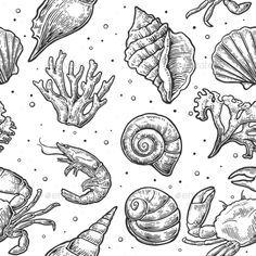 Buy Seamless Pattern Sea Shell, Coral, Crab and Shrimp by MoreVector on GraphicRiver. Seamless pattern sea shell, coral, crab and shrimp. Sea Life Tattoos, Shell Tattoos, Shell Drawing, Ocean Drawing, Illustrations Vintage, Sea Plants, Underwater Painting, Tattoo Flash Art, Gravure