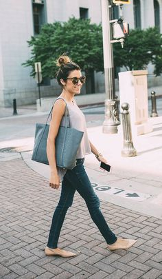 Blush And Denim Outfit Idea