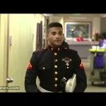 U.S. Marine Surprises Mom at Work for Christmas 2011     Gerald Morales gave his mom, Stephanie, the best Christmas present she could imagine. Gerald is a Marine stationed in Japan, and he and his mother hadn't seen each other in more than a year.    With the help of his siblings and his mom's coworkers, they hatched a plan and made up a fake meeting for her to attend. Once there, Gerald came around the corner and, as you can see, it was quite a moment.