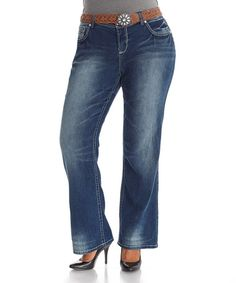 Another great find on #zulily! Lissie Belted Bootcut Jeans - Plus #zulilyfinds