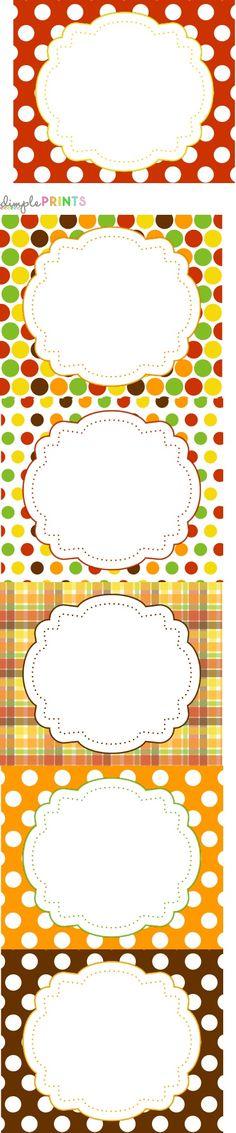 des étiquettes qui trouveront leur place sur toutes vos créations aux couleurs de l'automne... existent aussi en étiquettes rectangulaires et rondes... (elles font partie du kit pour Thanksgiving de Dimple Prints qui propose 125 pages de freebies de toutes sortes : papiers, 3 bannières, décos rondes, étiquettes, place cards, chapeaux de fête, boîtes, affichage pour le buffet et la maison...)