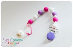 Silicone Pacifier Clip / Toy Leash, Eco Friendly and Uber Cute Smile Sunshine Designs WAHM Chew Beads