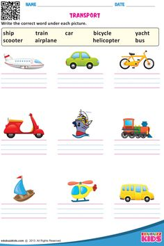 Kindergarten transportation worksheets that allow kids to match each vehicle to where we find them & match similar looking land transportation. These worksheets are free printable. Preschool Phonics, Free Kindergarten Worksheets, Teaching Phonics, Kindergarten Science, Phonics Activities, Science Worksheets, Reading Worksheets, English Grammar For Kids, English Worksheets For Kids