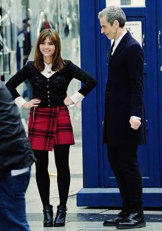 """Peter Capaldi + Jenna Coleman   Doctor Who   Behind the scenes of """"Deep Breath""""   Queen Street, Cardiff 28/01/14"""