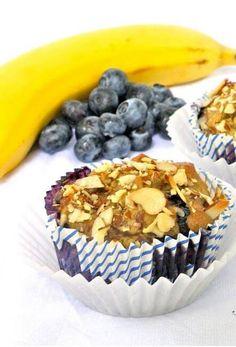Paleo Banana Blueberry Muffins Recipe Paleo Blueberry Muffins, Blue Berry Muffins, Paleo Muffin Recipes, Healthy Recipes, Granola, Breakfast, Food, Blueberry Crumb Muffins, Morning Coffee