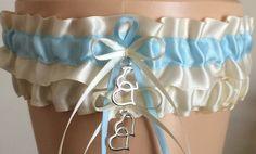Ivory and Blue Wedding Garter Set Bridal Garter by JustFunGarters