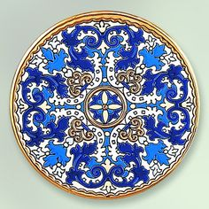 Decorative Plate 21 cms. Handmade in Sevilla.  Isbiliya (Al-Ándalus). Enamels and 24K gold www.madeinandalusia.es