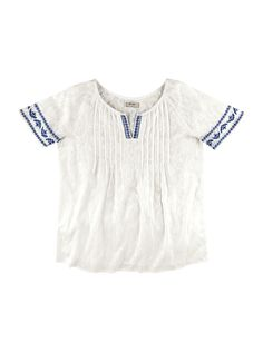 Camisa feminina tipo bata em algodão com jacquard e bordado na cor  off-white… 234ad2b266109