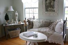 french burlap living room