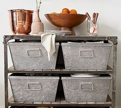 Slatted Wood Shelves And Riveted Corner Braces Enhance The Turlock Storage  Tableu0027s Rustic Industrial Character. Add Our Galvanized Nesting Bins (sold  ...
