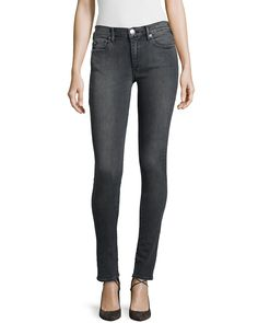 Halle Mid-Rise Super Skinny Jeans, Charcoal (Grey), Women's, Size: 28 - True Religion