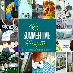 16 Summer DIY Projects...I just love the look of yellow and blue together, going to have to copy some of her ideas Summer Diy, Summer Crafts, Fun Crafts, Cabin Crafts, Summer Ideas, Summer 2014, Outdoor Projects, Diy Projects, House Projects