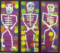 Paintbrush Rocket- Day of the Dead art also Halloween Halloween Art Projects, Fall Art Projects, Fete Halloween, First Grade Art, Second Grade, October Art, November 1st, Hispanic Art, Frida And Diego