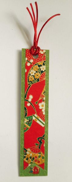 Book mark hand-made from card stock and Japanese yuzen washi paper.