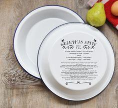 Personalised Enamel Pie Dish Serving Dish