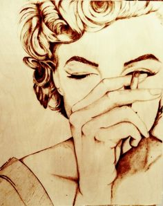 """i know someone who would love this! maybe try to do it myself :) """"Burnt in Time series"""": Marilyn Monroe Pyrography on Birch"""