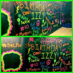 My Graffiti Wall for her Neon Birthday Party Neon Birthday, 19th Birthday, Happy Birthday, Birthday Parties, Themed Parties, Birthday Ideas, Neon Party, 80s Party, Middle School Dance