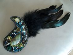 Black wing. Bead embroidery brooch with black  by MilenasBoutique, $68.00