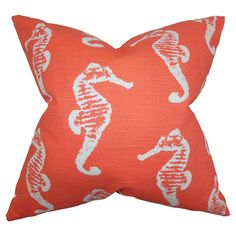 Bring a pop of coastal charm to your sofa or favorite reading nook with this cotton pillow, featuring a seahorse motif. Made in the USA.     ...