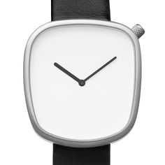 Pebble (white/black) watch by Bulbul. Available at Dezeen Watch Store: www.dezeenwatchstore.com