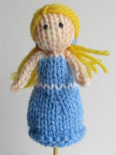 Free Knitting Pattern for Goldilocks Finger Puppet - This finger puppet by Amanda Berry is easily customizable into other characters by changing skin color, hair, and dress. The designer allows you to sell the finished project to raise money for charity.