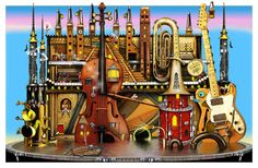 """Perre's """"Music Castle"""", a 1500 piece jigsaw puzzle, artwork by Colin Thompson; (müzik kalesi) a fantastic castle made of melody and music! Castle Mural, Castle Wall, Polychromos, Whimsical Art, 500 Piece Jigsaw Puzzles, Coloring Books, Adult Coloring, Prints, Pictures"""