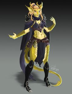 A quite underdressed female dragonborn / dragon born gold dragon - maybe a sorcerer? Fantasy Character Design, Character Design Inspiration, Character Concept, Character Art, Concept Art, Dungeons And Dragons Characters, Dnd Characters, Fantasy Characters, Female Dragonborn