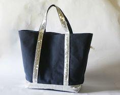 sac bleu marine à paillettes argents