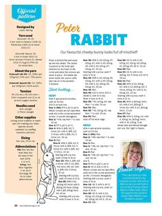 Peter Rabbit Page 1 Teddy Bear Knitting Pattern, Animal Knitting Patterns, Crochet Dolls Free Patterns, Amigurumi Patterns, Knitting Designs, Knitted Bunnies, Knitted Animals, Knitted Dolls, Knitting Dolls Clothes