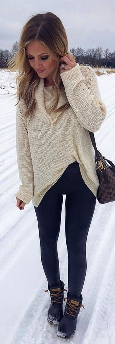 #winter #outfits beige sweater