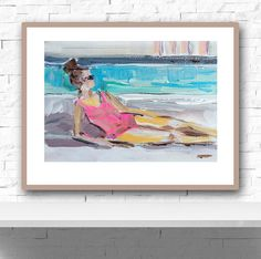 Poolside   Print of original painting by Maren Devine.   NOTE: frame not included, just for viewing purposes  Figurative art, woman in hot pink swimsuit, Poolside.  Printed using beautiful HP archival quality inks on medium weight matte premium paper. Larger prints arrive in a mailing tube.  Questions, just ask!  Original art becomes property of buyer, seller retains right to sell prints unless otherwise discussed.