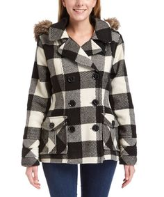 Another great find on #zulily! Black & White Plaid Faux Fur Hooded Peacoat #zulilyfinds
