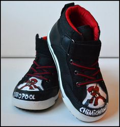 Toddler Shoes Size 9 Painted Boys Deadpool Shoes by PricklyPaw