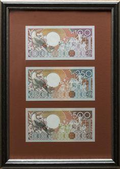 Suriname Bird set of Framed Banknotes