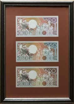 Suriname Bird set of Framed Banknotes