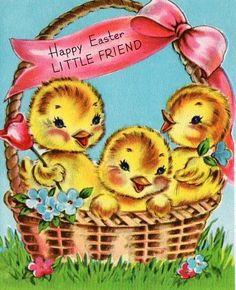 Easter chicks in basket Easter Art, Hoppy Easter, Easter Crafts, Easter Greeting Cards, Vintage Greeting Cards, Vintage Easter, Vintage Holiday, Easter Parade, Easter Printables