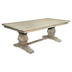 Sante Fe Balustrade Dining Table with Solid Top Wood/Rustic Mango Grey Wash - Casual Elements