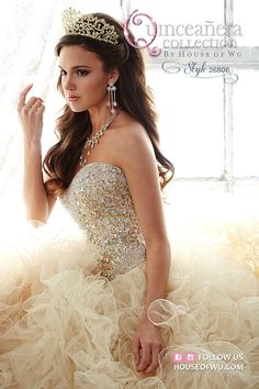 Be picture-perfect in this glimmering corset done with chunky beadwork and ball gown with elegant tulle ruffles. 15 Anos Dresses, Dama Dresses, Royal Dresses, Quince Dresses, Ivory Dresses, Princess Dresses, Sweet 15 Dresses, Pretty Dresses, Quinceanera Collection