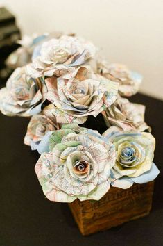 Paper flowers made with maps of places you been to