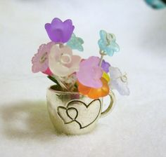 Miniature Flowers in tiny silver cup mini by KrystalKlarityBeads