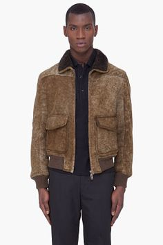 YVES SAINT LAURENT Olive & Grey Shearling Jacket