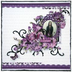 layout for the Merly Crop, using Kaisercraft Violet Crush collection. Photo Layouts, Scrapbook Page Layouts, Scrapbook Pages, Kids Pages, Something To Remember, Iris Folding, Glam Girl, Wedding Scrapbook, Cardmaking